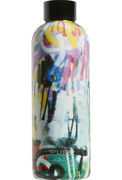 Puro Hot&Cold Paslanmaz Çelik Termos Parlak Street Art Graffiti Desenli 500 ml
