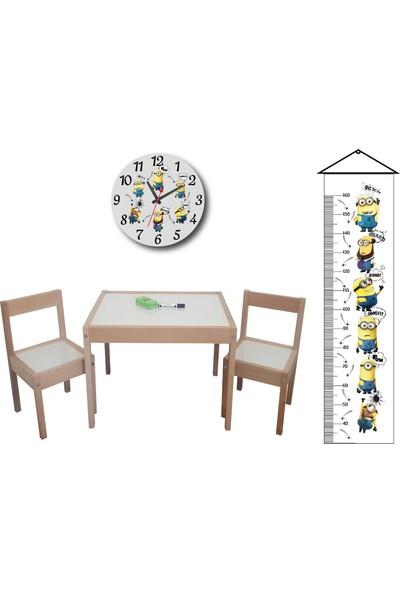 Makeart Baby Montessori Yaz - Sil Masa Sandalye Takımı + Boy Ölçer + Duvar Saati