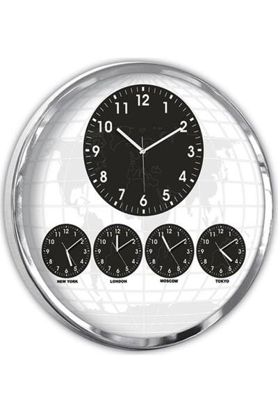 A Plus 60 cm 5 Li Dünya Saati Turizmcilik Parlak Krom Saat