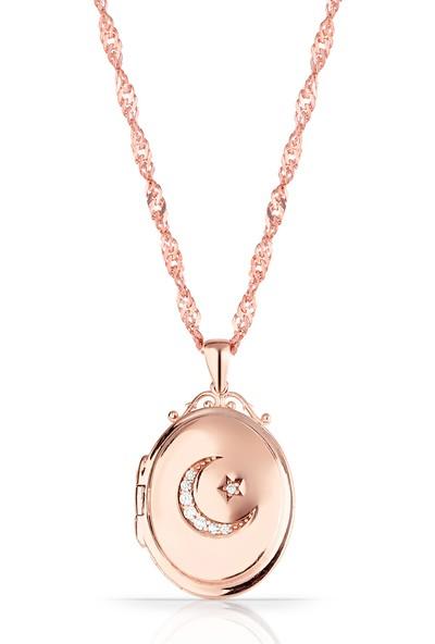 Azuris 925 Ayar Gümüş Kapaklı Ay Yıldız Madalyon Kolye