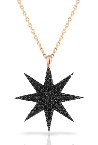 Azuris 925 Ayar Gümüş Siyah Taşlı Yıldız Kolye