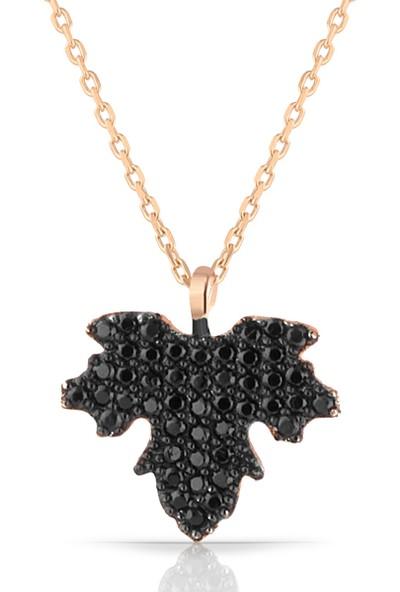 Azuris 925 Ayar Gümüş Siyah Taşlı Çınar Yaprağı Kolye Yıldızı
