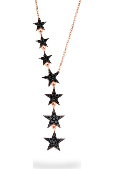 Azuris 925 Ayar Gümüş Sıralı Siyah Yıldız Kolye