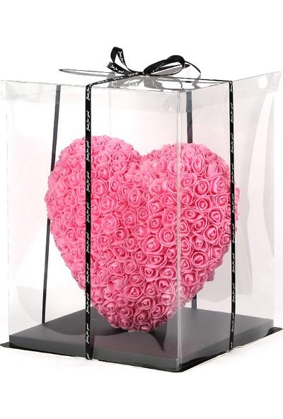 Solenzara Flowers Pembe Kalpli Solmayan Gül 40 cm Kalp Heart Rose