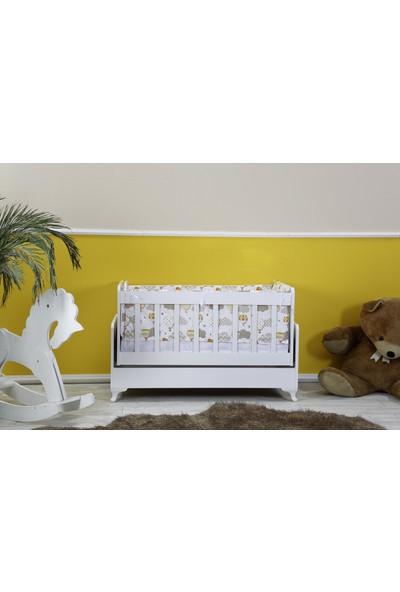 Diverso Home Sallanır Ahşap Bebek Beşik Seti + Yatak + Uyku Seti + Cibinlik Tülü + Cibinlik Aparatı