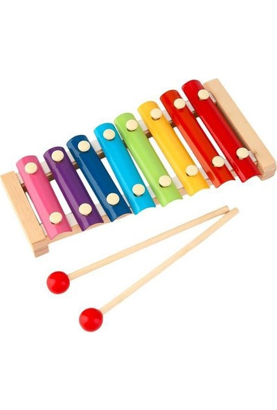 Mofy Baby Eğitici Ahşap Ksilofon 8 Nota ve Ton 25 cm 8 Tuşlu Sesli Selefon Oyuncak
