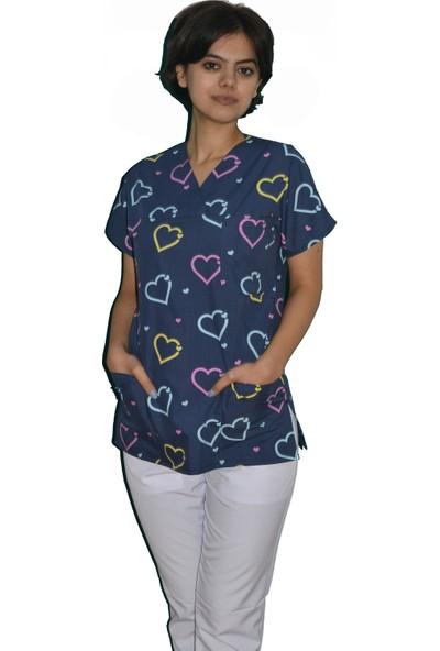 Palmiye Üniforma Mavi Kalp Desenli Hemşire - Veteriner Forması