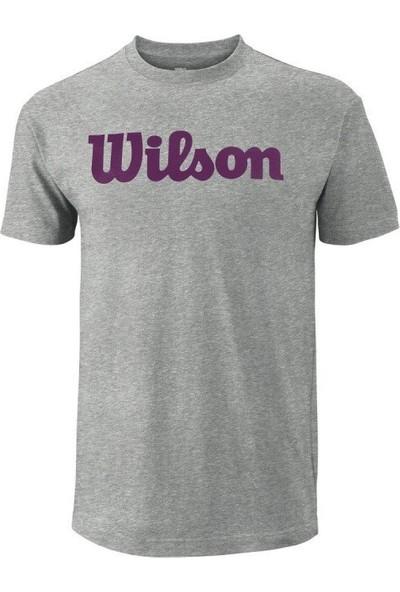 Wilson Script Cotton Tee Gri Erkek T-Shirt WRA747801