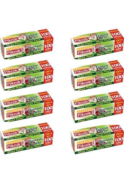 Piknik Gıda Ambalaj Buzdolabı Poşeti Orta-Mega (100'lü) 8'li