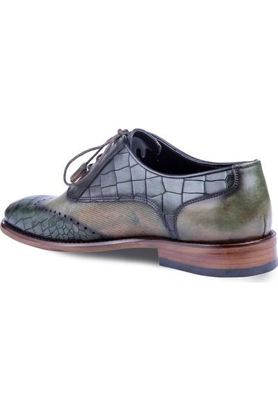 Tigana Erkek Eli Yeşil Deri Klasik Ayakkabı
