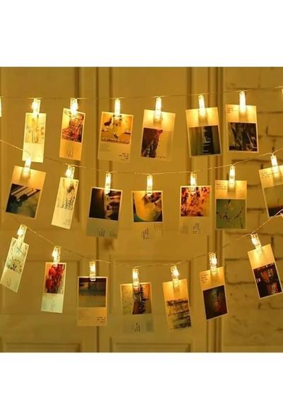 Süme Transparan Mandallı LED Işık Süs 3 Metre Günışığı 20 Mandal Dekor