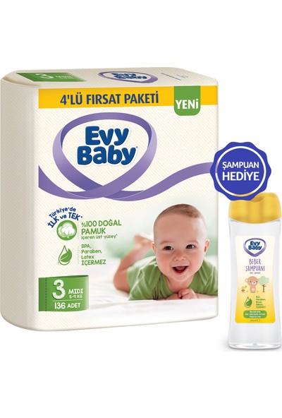 Evy Baby Bebek Bezi 3 Beden Midi 136 Adet - Şampuan