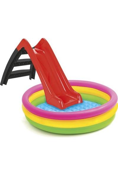 Kaydıraklı Oyun Seti (Sunset Havuz / 7 cm 100'lü Oyun Havuz Topu / Pompa / Kaydırak)