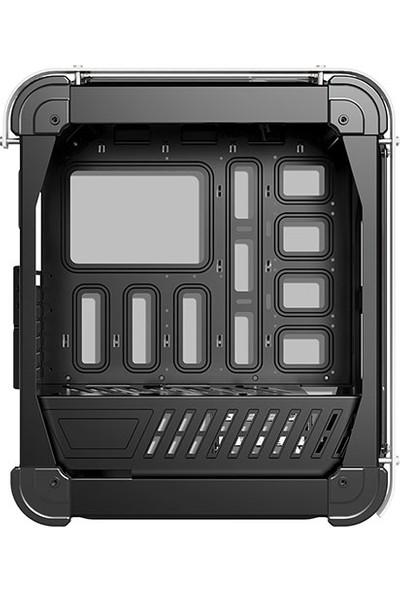 Rampage Castle Siyah/Mavi 4in1 Kart Okuyucu + Led Şeritli Temper Glass Çelik Gövdeli Oyuncu Kasa