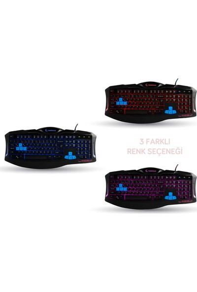 Rampage KM-R5 3 Farklı Aydınlatmalı Siyah Oyuncu Klavye Mouse Set (14259)