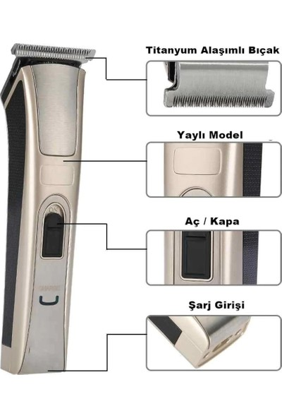 Yopigo WHL-28 T Bıçak Şarjlı Saç Sakal Ense Bıyık Traş Makinesi