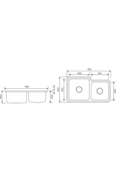 Crauf Tezgahaltı Evye 452 x 780 x 230 mm Mat Inox
