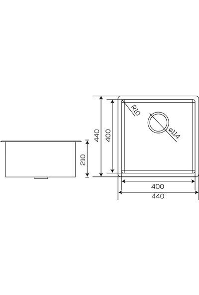 Crauf Mat Inox Tezgahaltı Evye 440 x 440 x 210 mm