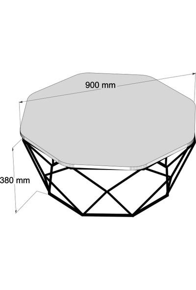 Variant Mobilya Diamond Metal Ayaklı Orta Sehpa Krem