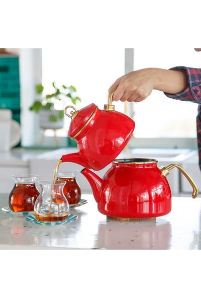 Refikadan Kırmızı Emaye Çaydanlık