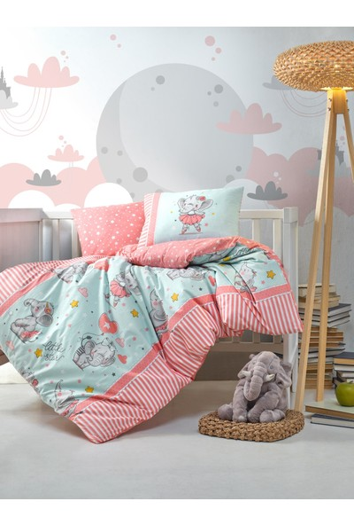 Cotton Box Bebek Nevresim Takımı Elephant Pembe