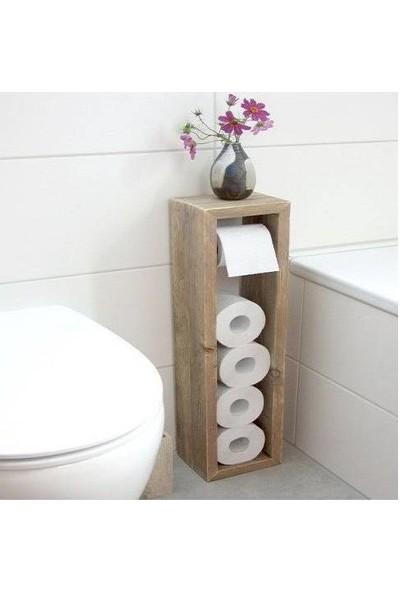 Mavienerji Ahşap Tuvalet Kağıtlığı Havluluk Banyo Wc Kağıt Havluluk