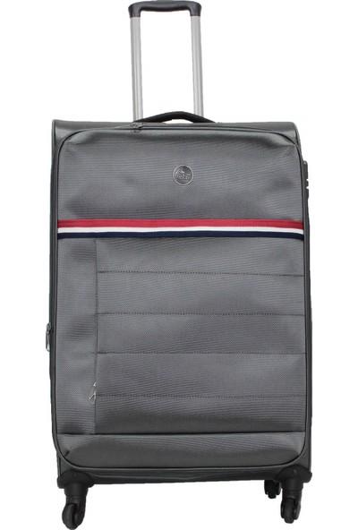 Cambridge Polo Club 4 Teker Büyük Boy Kumaş Bavul Plbvl30022-L- Gri