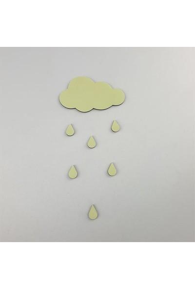 Faami Style Fosforlu Bulut + 6 Adet Yağmur Tanesi Duvar Süsü
