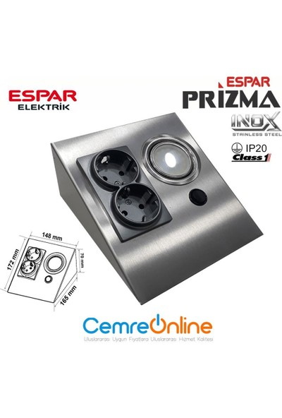 Espar EPS150-2PL3 Tezgah Altı Üçgen Spot Inox 6500K + 2'li Priz
