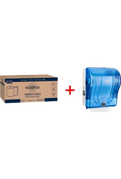 Rulopak 21 cm Hareketli Havlu 5 kg + Rulopak 21 cm Havlu Makinesi - Mavi