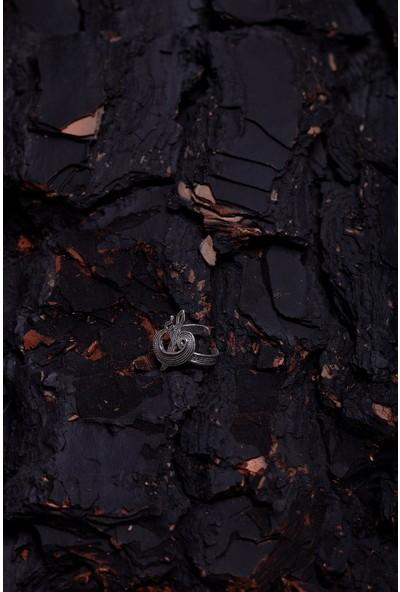 Elif Vav Model Mardin Hasırı Gümüş Yüzük