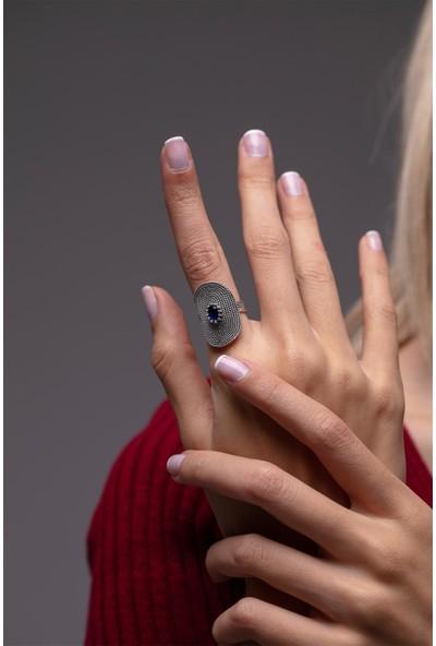 Oval Model Safir Taşlı Telkari Gümüş Yüzük