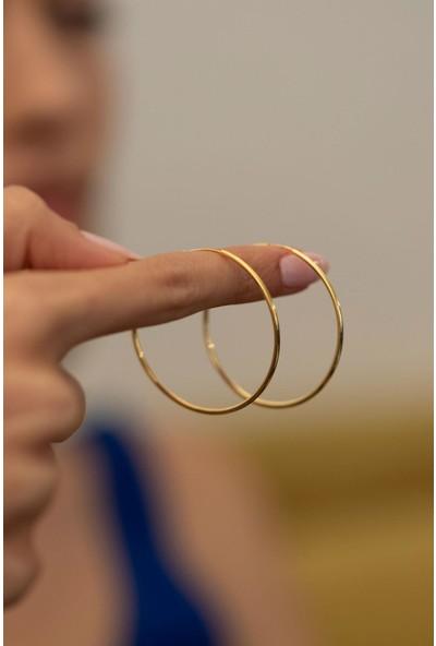 Halka Model Altın Kaplama Gümüş İtalyan Küpe