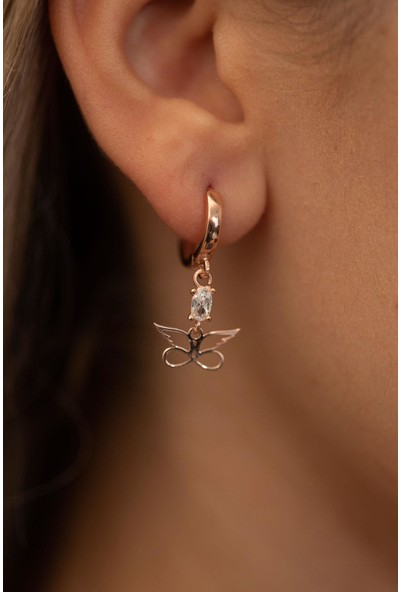 Kelebek Model Rose Kaplama Gümüş İtalyan Küpe