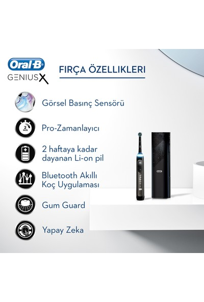 Oral-B Genius X Luxe Edition Anthracite Grey Şarj Edilebilir Diş Fırçası