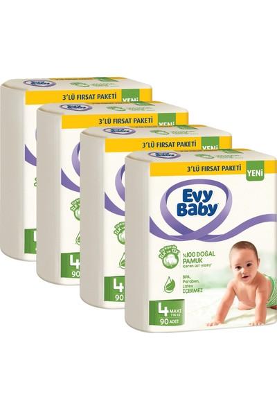 Evy Baby Bebek Bezi 4 Beden Maxi 7-14 kg Doğal Pamuklu 360 Adet