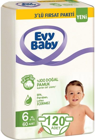 Evy Baby Bebek Bezi 6 Beden Xl 15+Kg Doğal Pamuklu 120 Adet Bez