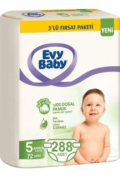 Evy Baby Bebek Bezi 5 Beden Junior 8-18 kg Doğal Pamuklu 288 Adet