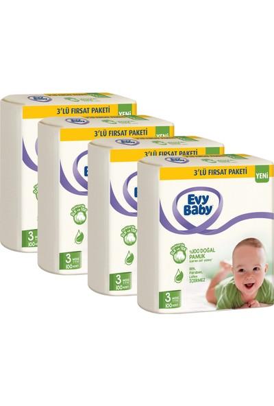 Evy Baby Bebek Bezi 3 Beden Midi 5-9 kg Doğal Pamuklu 400 Adet