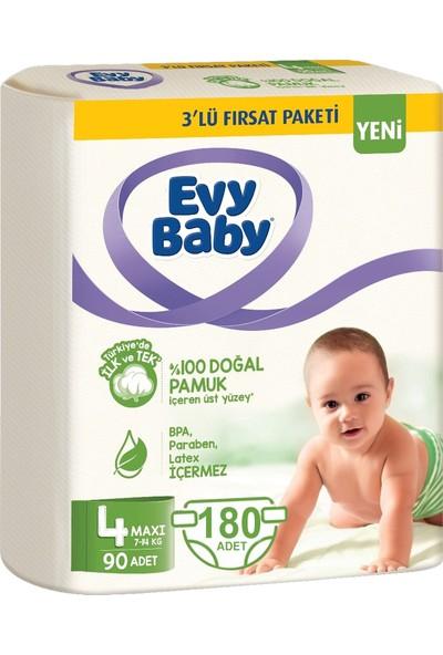 Evy Baby Bebek Bezi 4 Beden Maxi 7-14 kg Doğal Pamuklu 180 Adet