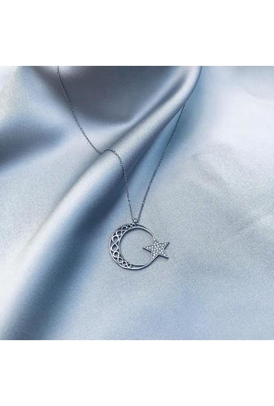 Beyazıt Takı Şanlı Ay Yıldız Gümüş Kolye