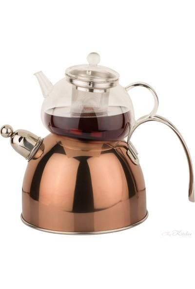 İkra Home Düdüklü Çaydanlık Cam Paslanmaz Çelik 3,6 lt