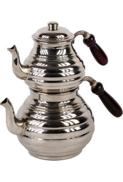 Bakır Sanatı Dilimli Bakır Çaydanlık & Gümüş Renk