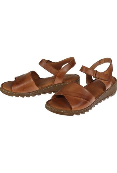 Shalin 021 Taba Hakiki Deri Kadın Sandalet