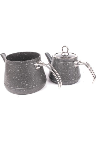 Kapris Granit Kaplama Alüminyum Gövde Çaydanlık Siyah
