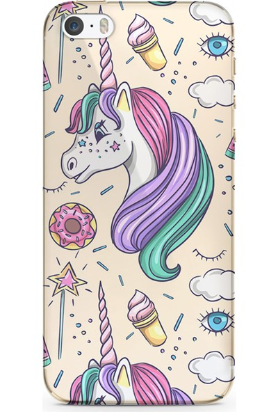 Kılıfland Apple iPhone 5s Kılıf Silikon Resimli Kapak Unicorn Ice Cream Stok 1190