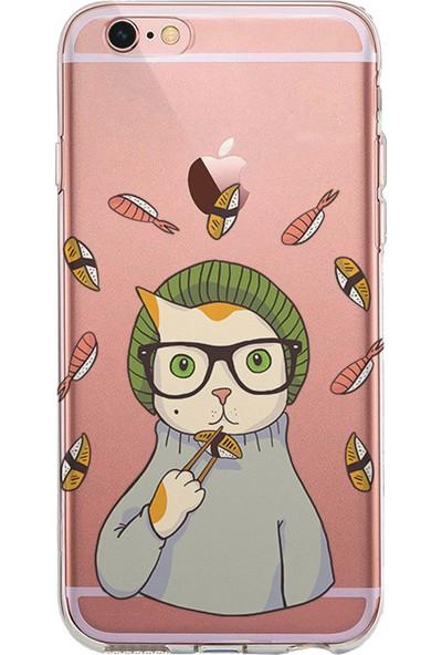 Kılıfland Apple iPhone 6s Kılıf Silikon Resimli Kapak Hipster Sushi Cat -Stok 469