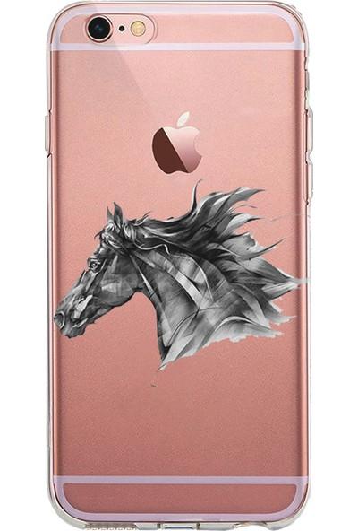 Kılıfland Apple iPhone 6s Kılıf Silikon Resimli Kapak Black Horse -Stok 775