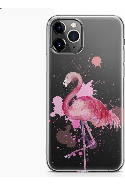 Kılıfland Apple iPhone 11 Pro Kılıf Silikon Resimli Kapak Watercolor Flamingo -Stok 617