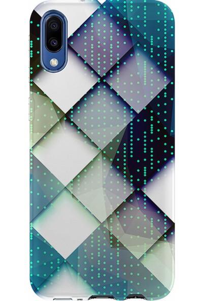 Kılıfland Samsung Galaxy A10 Kılıf A105F Silikon Resimli Kapak Matrix Triangle -Stok 802